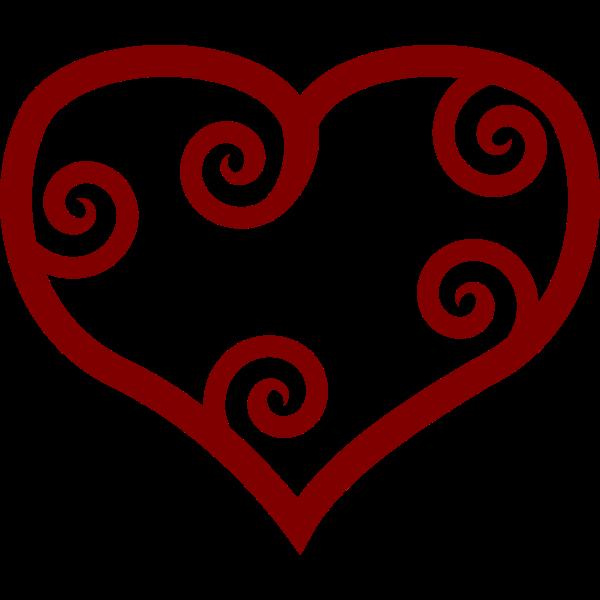 Valentine Red Maori heart vector clip art