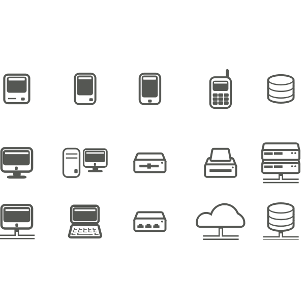 Computer & network icons selection vector image