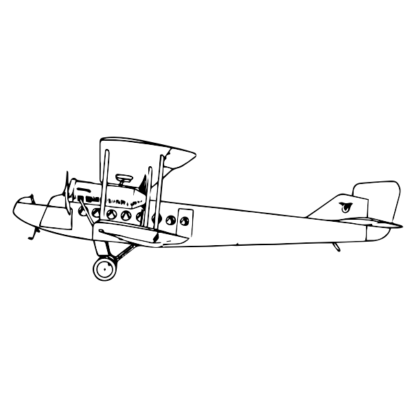 airplane drawing black and white