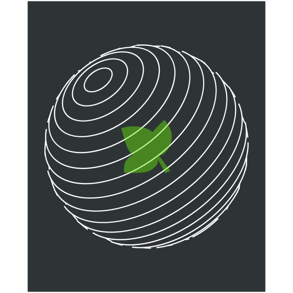 Planet with a green leaf inside vector image