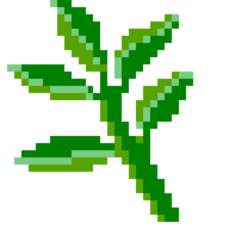 Drawing of brown and green plant growing in a red pot