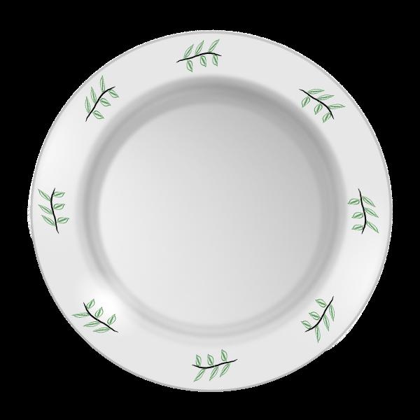 Vector clip art of leaf pattern plate