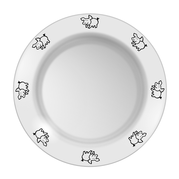 Vector graphics of piggy pattern plate