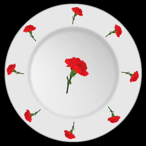 Carnation pattern plate vector clip art