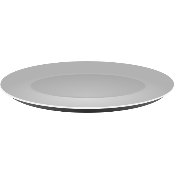 Vector clip art of grayscale plain platter
