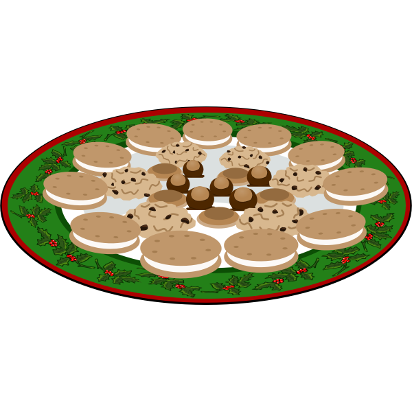 Plate of cookies vector