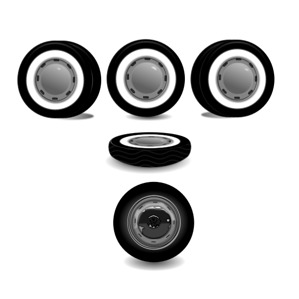 Illustration of car wheels from different perspectives