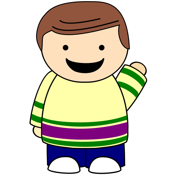 Brown-haired boy waving