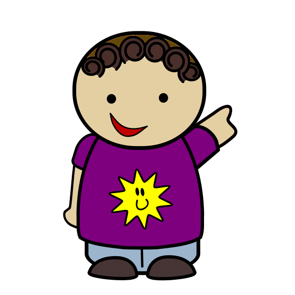 Pointing boy with sunny purple T-shirt