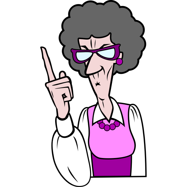 Pointing old woman