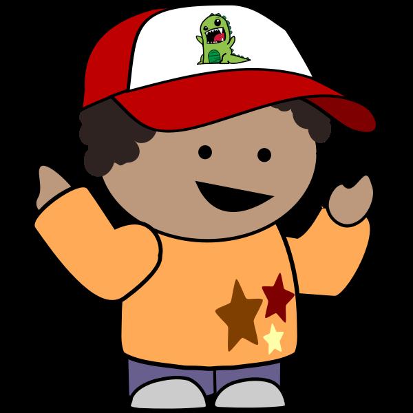 Pointing boy in baseball cap