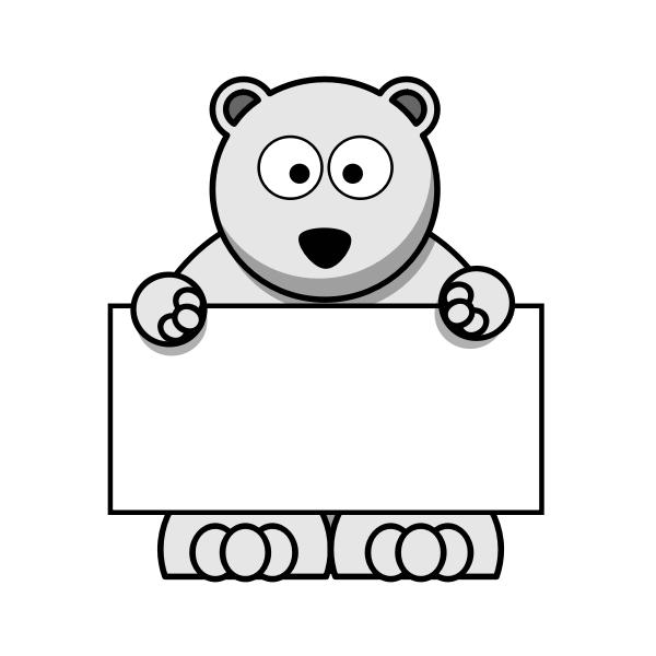 Polar bear holding blank signboard vector graphics