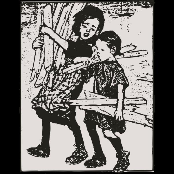 Poor kids carrying wood vector image