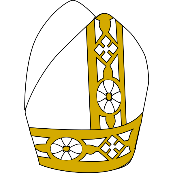 Pope hat in gold and white color illustration