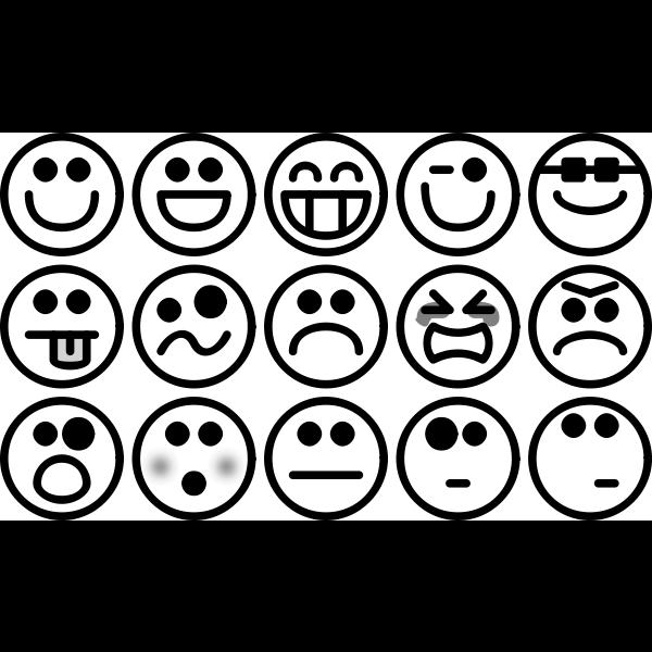 Greyscale Smiley Set