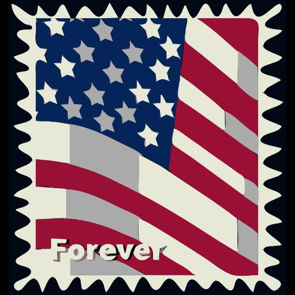 USA flag postal stamp vector illustration