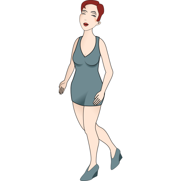 Vector image of woman walking in high hils