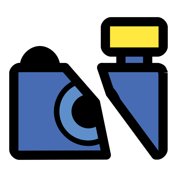 Vector graphics of broken photo camera drawn icon