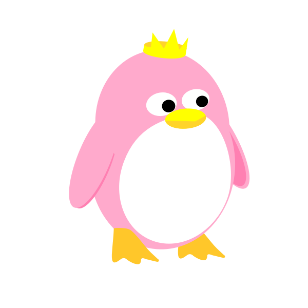 Princess penguin vector graphics