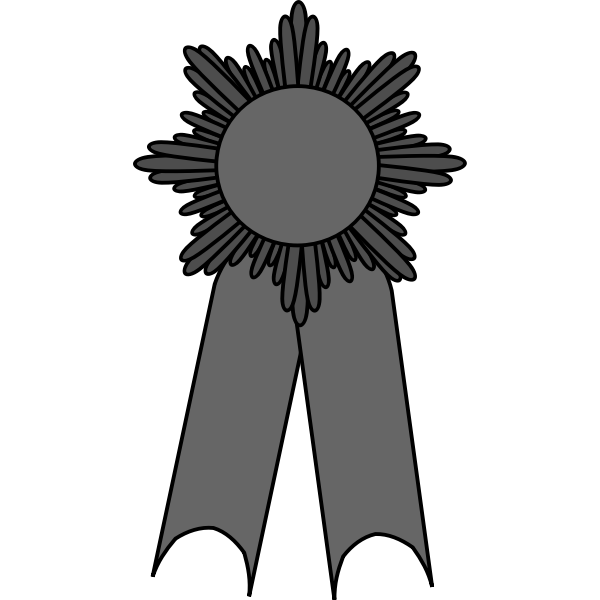 Vector illustration of medal with a grayscale ribbon