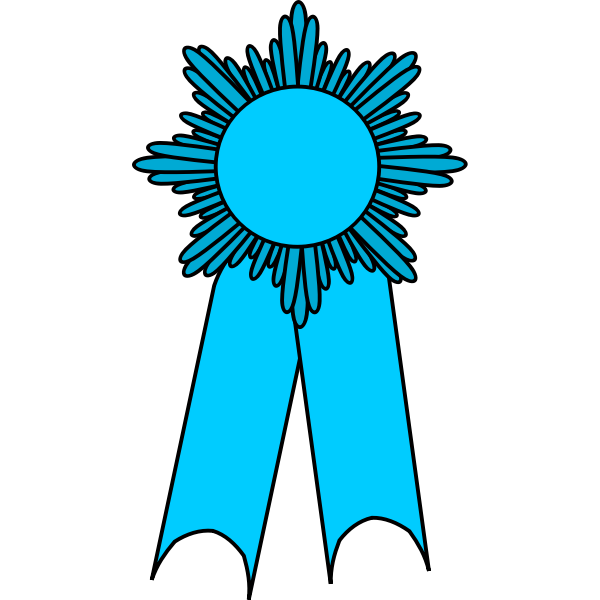 Vector clip art of medal with a light blue ribbon