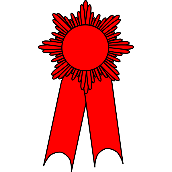 Vector drawing of medal with a red ribbon