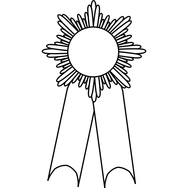 Line art vector illustration of medal with a white ribbon