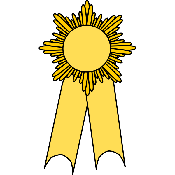 Vector image of medal with a yellow ribbon