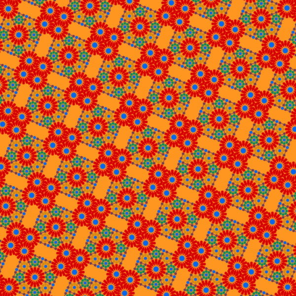 Retro red flowers wallpaper