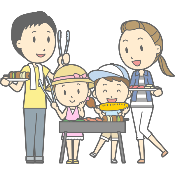 Family barbecue cartoon style