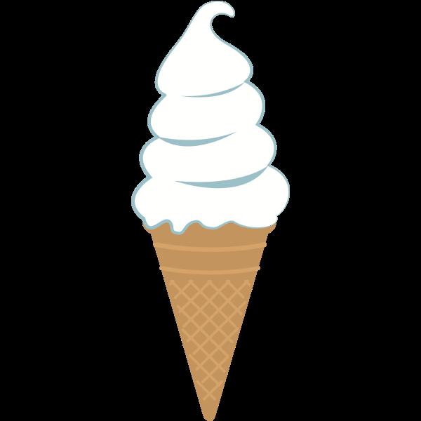 White ice cream in a cone