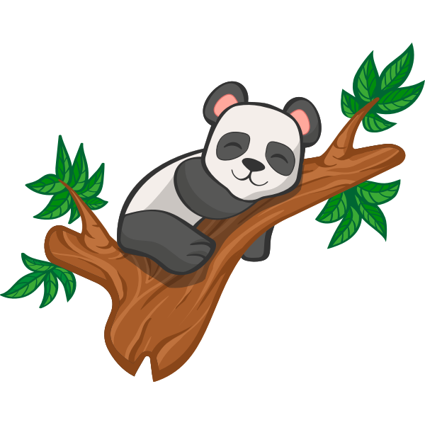 lying EPS. PNG Funny lazy panda sleeping Vector cutting file for Silhouette Cameo and Cricut; SVG Studio3