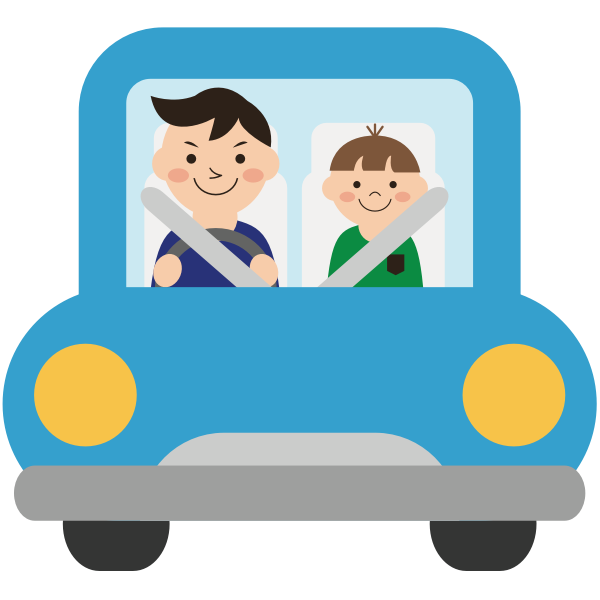 Dad and kid in a car