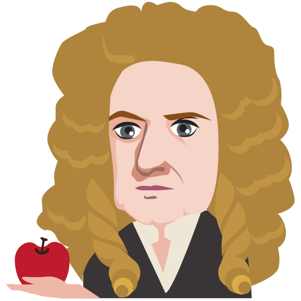 Sir Isaac Newton holding an apple
