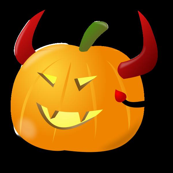 Devil pumpkin vector clip art