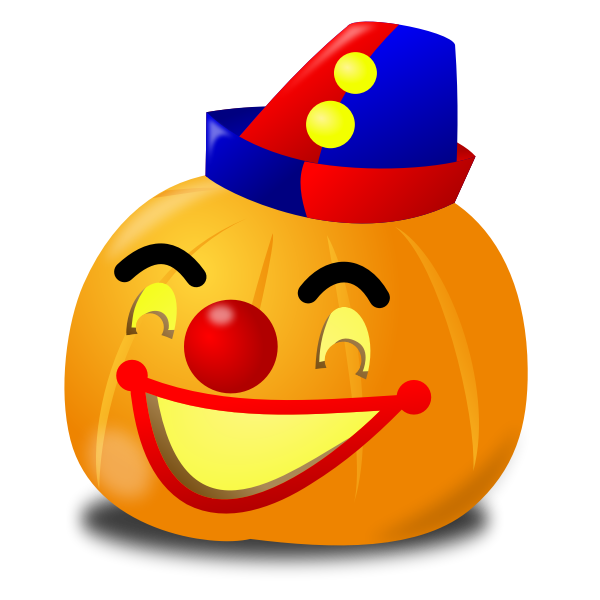 Clown pumpkin vector drawing