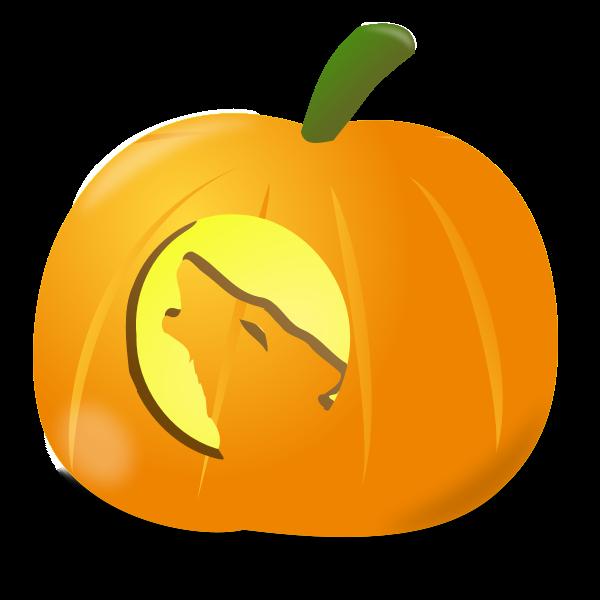 Wolf pumpkin vector clip art