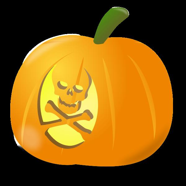 Skull pumpkin vector clip art