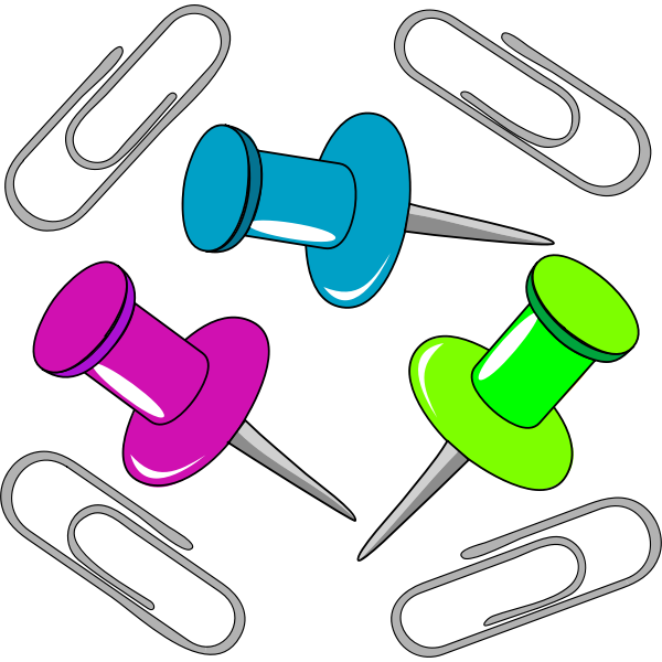 Pins and paperclips vector illustration