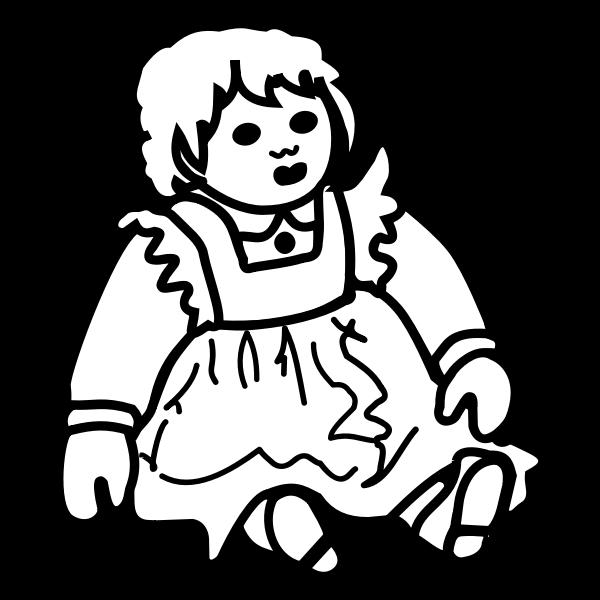 Posh doll outline vector illustration