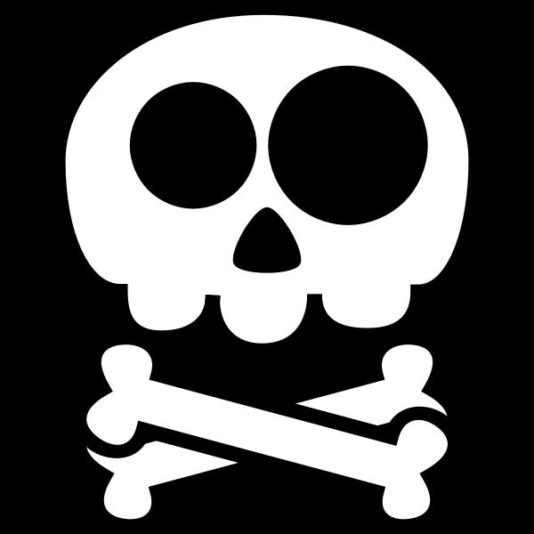 Vector drawing of simple skull with two bones below
