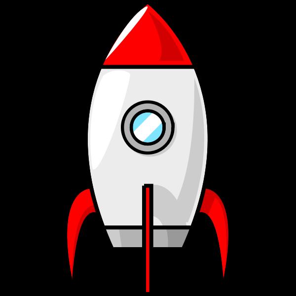 Cartoon moon rocket vector clip art