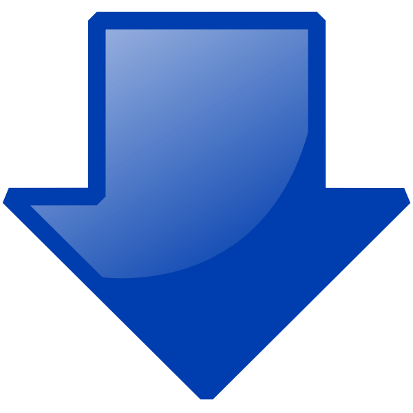 Blue arrow down vector image