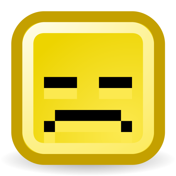 Upset smiley vector icon
