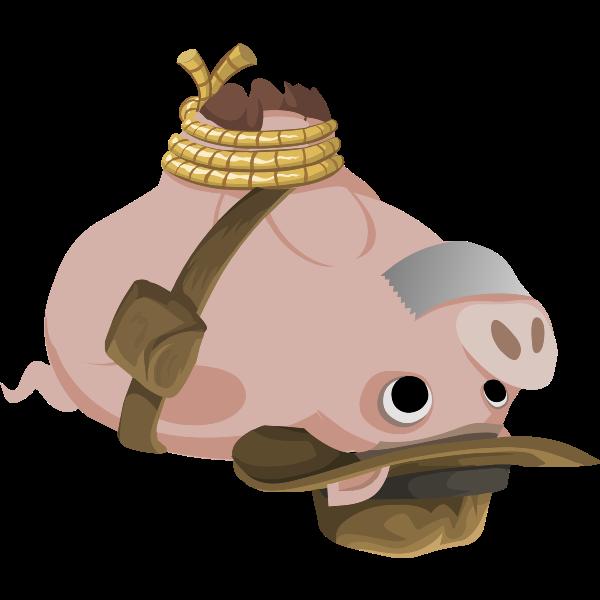 Vector illustration of pig upside down