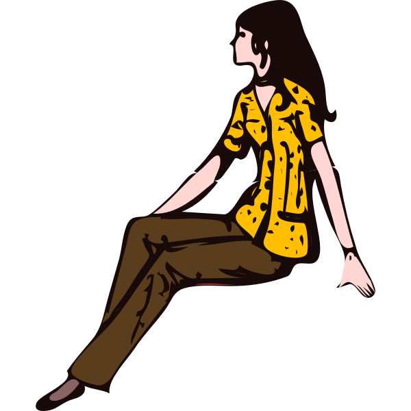Cartoon sitting lady