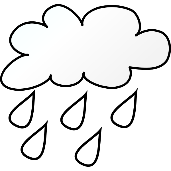 Rainy cloud line art vector image