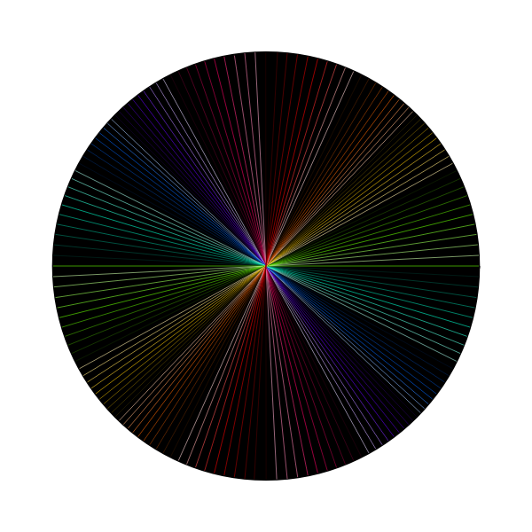 Vector image of rainbow light in dark line art