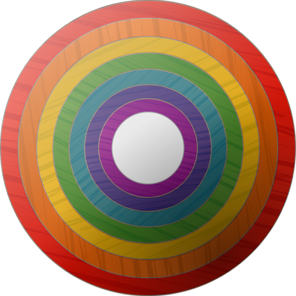 Vector clip art of rainbow button with wooden texture