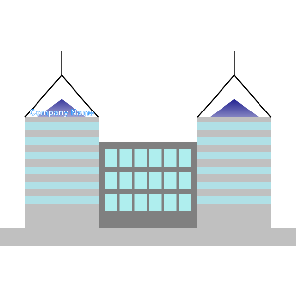 Vector clip art of two-tower office building